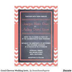 """Coral Chevron Wedding Invitation 5"""" X 7"""" Invitation Card"""