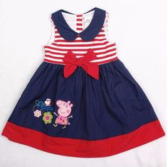 Retail 1 Pcs New 2014 Summer Baby Peppa Pig Girl Dress Girls Princess Bow Cotton Striped Girl Party Dress Cute Dresses (Mainland)) Baby Outfits, Little Girl Dresses, Toddler Outfits, Kids Outfits, Girls Dresses, Summer Dresses, Vestido Peppa Pig, Peppa Pig Dress, Frock Design
