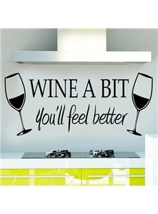 Creative Words and Quotes Wine a Bit Removable Wall Sticker