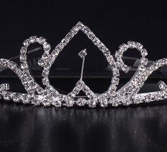 $3.97 Reverse Shape Shiny Rhinestone Girl Wedding Prom Tiara Crown Headband