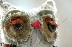 """Henrietta the woodland owlfrom """"Into-the-woods"""" collection by Lori Nichols. She is one-of-a-kind owl made from vintage wool, ..."""