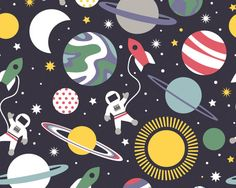 Galaxy Navy Space Planets from Blend Fabrics by JAQSFabrics