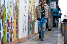 streetstyle, H&M, HM, Athens, Greece, blogger, blog, menswear, wearing, lookbook, shotbygio, men's style, men;s fashion, men, trends, Ami Paris, wearing, fur, stylentonic blog, Polaroid sunglasses, pouch, leather, dapper, men in style, look of the day, ootd, blogger, jacket, ripped jeans, lanvin loafer