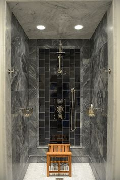 Shower - Love the mix of stone/tiles with the shower/controls taking centre stage.  Clever design.