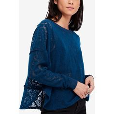 Free People Not Cold In This Lace Top (6720 RSD) ❤ liked on Polyvore featuring tops, sapphire, free people tops, lacy tops, blue top, lace layered top and blue lace top