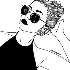 grafika outline, drawing, and black Tumblr Girl Drawing, Hipster Girl Drawing, Art Tumblr, Tumblr Drawings, Tumblr Hipster, Tumblr Girls, Hipster Drawings, Hipster Girls, Easy Pencil Drawings