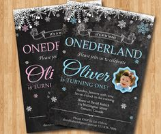First birthday boy or girl invitation. Winter onederland birthday. Baby boy baby girl with photo. Snowflake chalkboard invite. Custom color. on Etsy, $11.20 CAD
