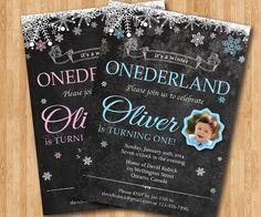 First birthday boy or girl invitation. Winter onederland birthday. Baby boy baby girl with photo. Snowflake chalkboard invite. Custom color. on Etsy, $11.20 CAD