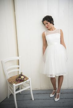 "Wedding dress ""Principessa"" – Soft jersey dress with lace endings,a tulle top and a big wide tulle skirt, white, ivory - a unique product by Ave-evA via en.dawanda.com"