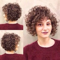 """modern, with """"fringe"""" side 😍 Want a Cut and treat with . Bob Haircut Curly, Haircuts For Curly Hair, Permed Hairstyles, 3c Curly Hair, Crimped Hair, Curly Hair Styles, Short Hair Dos, Hair Turban, Corte Y Color"""