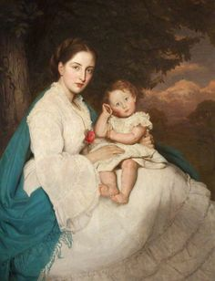 1871 Caroline Philips (1846-1928), Lady Trevelyam with son Charles by James Archer (Wallington Hall - Wallington, Northumberland, UK)-Pinned by KChic