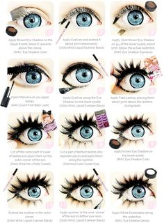 Puppe Auge, Make-up-Tutorial, Mode Make-up, große Augen, Visual Kei. Dolly Augen Make-up Related Anime Eye Makeup, Doll Eye Makeup, Gyaru Makeup, Smokey Eye Makeup, Makeup Art, Makeup Ideas, Ulzzang Makeup, Winged Eyeliner, Lolita Makeup