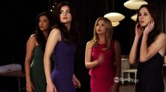 "Pretty Little Liars, season 2, episode 6, ""Never Letting Go,"" aired on 19 July 2011. Emily Fields is played by Shay Mitchell, Aria Montgomery is played by Lucy Hale, Hanna Marin is played by Ashley Benson, and Spencer Hastings is played by Troian Bellisario. Hanna is wearing an Ali Ro Bead-Detail Peplum Dress. Aria: ""Maybe we should just send Mrs. DiLaurentis a note or something?"" Spencer: ""I don't think there's a section for 'I'm sorry you got traumatized' cards."""
