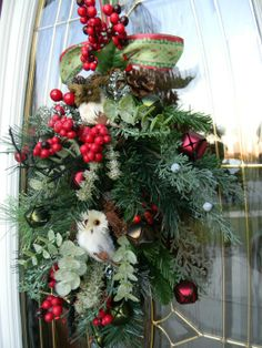 swags wreaths christmas | Christmas door swag. I love the Owl! | Wreaths