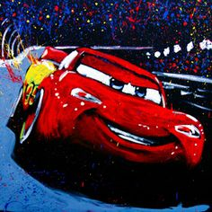 "A ""Splash!"" painting of ""Lightning McQueen"" from Disney's Cars :: Splash.cm --- Watch the video > pinterest.com/..."