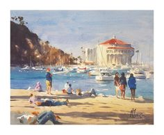 Andy Evansen, 'Day at the Beach', half sheet watercolor