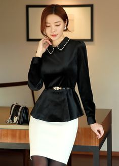 Korean Women`s Fashion Shopping Mall, Styleonme. New Arrivals Everyday and Free International Shipping Available. Black Women Fashion, Asian Fashion, Womens Fashion, Everyday Outfits, Everyday Fashion, Basic Outfits, Casual Outfits, Peplum Blouse, Female Models
