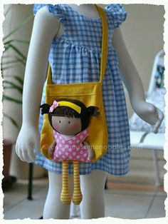 Thought I'd post a picture of My Teeny-Tiny Doll® (MTTD) Chloe and Carry-Me Tote Bag Set I made for a friend of mine. The bag was made using a Michelle's Pattern as a base structure w… Fabric Bags, Fabric Dolls, Rag Dolls, Tiny Dolls, Patchwork Bags, Sewing Toys, Girls Bags, Doll Crafts, Handmade Bags