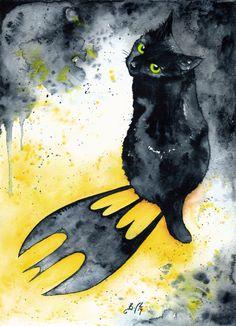 Bat Cat: Fine Art Watercolour Black Cat Batman Print by ClockworkArtShop on Etsy https://www.etsy.com/listing/207523407/bat-cat-fine-art-watercolour-black-cat
