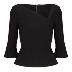 Roland Mouret Rudyard Top ($1,095) ❤ liked on Polyvore featuring tops, black, long-sleeve, peplum tops, asymmetrical neckline top, long sleeve peplum top, long bell sleeve tops and bell sleeve tops