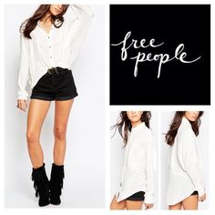 """Free People True Affection Top.  NWT. Free People True Affection Oversized Buttondown Blouse, 100% rayon, machine washable, 25"""" armpit to armpit (50"""" all around), 29"""" front length, 35"""" back length, oversized fit, slouchy dolman sleeves, spread collar, long sleeves with double barrel cuffs, front button closure, high low hem, measurements are approx.  No PayPal....No Trades... Free People Tops Blouses"""