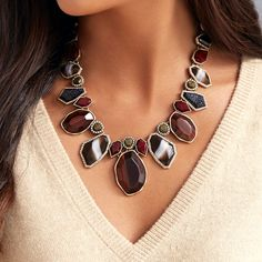 Rebel Red Tiger Eye Statement Necklace | Chloe + Isabel Beautiful Fall pieces now available. Red, maroon, black , gold. https://www.chloeandisabel.com/boutique/sarahmontelongo