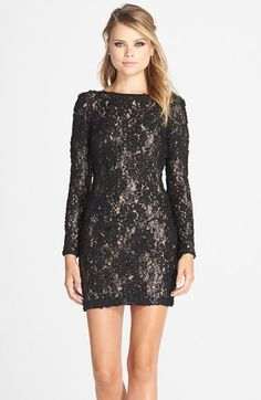 Dress the Population 'Lola' Lace Sheath Dress nylon/lycra black/nude 33L szXS 208.00