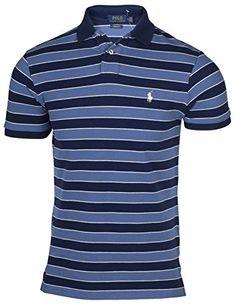 3436dc046 Polo Ralph Lauren Mens Custom Fit Striped Polo Shirt (Blu... https