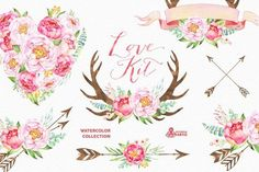 Love Kit. Watercolor collection by OctopusArtis on @creativemarket