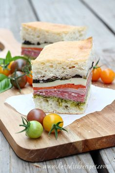 "Pressed Italian Sandwiches - great make ahead item for finger food / app or picnic as actually needs to be prepared and ""pressed"" for several hours. Can be made 2 days ahead"