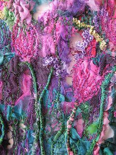 Closeup Silk and Tyvek - Margaret Steeden Textile Fiber Art, Textile Artists, Fabric Art, Fabric Crafts, Creative Textiles, Textiles Techniques, Nuno Felting, Needle Felting, Fabric Manipulation