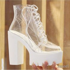 White Transparent Lace Up Chunky Sole Block High Heels Platforms Boots Shoes, Shoe Width: Medium(B,M) Upper Material: Acrylic Upper Decorations: Platforms Heel cm Platforms c Dr Shoes, Goth Shoes, Hype Shoes, Me Too Shoes, Platform High Heels, High Heel Boots, Heeled Boots, Shoe Boots, Fashion Boots