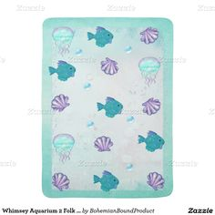 Whimsey Aquarium 2 Folk Art BABY BOY GIRL Stroller Blankets
