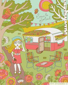 Silvia Dekker's Illustration for Dutch Flow magazine of a mod girl and a caravan in a flower garden
