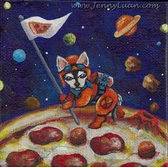 Original 4x4 Whimsical Dog Discover Pizza Planet NFAC Acrylic Painting by Jenny #Surrealism
