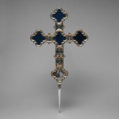 Processional Cross  Date: 15th century Culture: Italian Medium: Translucent Champlevé enamel, silver, partial-gilt, modern glass and velvet