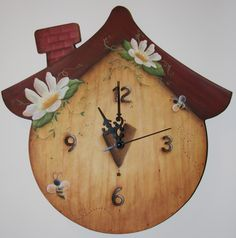 littlehats & Co: orologio casetta dipinto in country painting Diy Arts And Crafts, Hobbies And Crafts, Wood Crafts, Diy Crafts, Tole Decorative Paintings, Tole Painting Patterns, Primitive Painting, Painting On Wood, Bird Houses Painted
