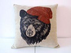 "Decorbox Cotton Linen Square Throw Pillow Case Decorative Cushion Cover Pillowcase for Sofa Animal Black Bear Wear Hat 18 ""X18 "" | shopswell"