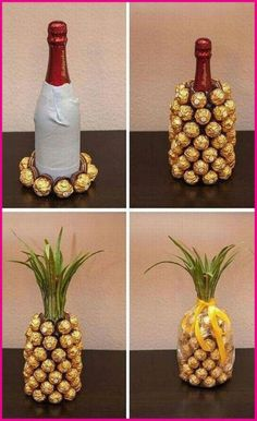 Wrap a bottle of wine and create a ferrero rocher pineapple Mitbringsel: Rocher-Sekt-Ananas Mitbringsel: Rocher-Sekt-Ananas I think you could do this with a coke bottle. Mitbringsel: Rocher-Sekt-Ananas is creative inspiration for us. Get more photo about Pineapple Gifts, Wine Pineapple, Pineapple Craft, Pineapple Centerpiece, Diy Y Manualidades, Diy Cadeau, Navidad Diy, Ideas Navidad, Craft Gifts