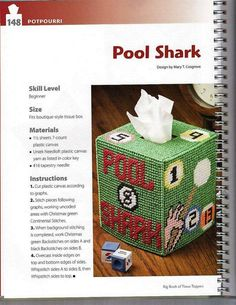 POOL SHARK TISSUE BOX COVER by MARY T. COSGROVE 1/2
