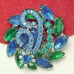 Vibrant Blue and Green Rhinestone Brooch