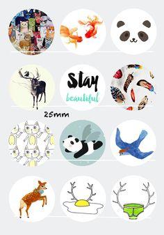 Stay beautiful 12 Images/Dessins/collages digitales pour cabochon 30/25/20/18/16/15/14/12/10/8 mm Rond/Carré/Ovale : Images digitales pour bijoux par chat-therapie