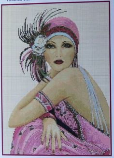 Amazing image is the creation of Flower Power37-UK......Counted Cross Stitch ART DECO FLAPPER LADY in Pink - COMPLETE KIT No. 5vb-29