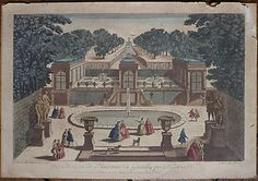 Hand tinted engraving, 18th century, GENTILLY,PARIS