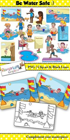 Water safety clip art that includes being pool safe, beach safe – and safe around deep water regardless of where you are! #ramonam #ramonamgraphics #kidsapproved #teacherclipart #watersafety #watersafeclipart #bewatersafeclipart #clipart #watersafetyclipart #beachclipart #poolclipart #waterclipart