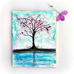Tree Painting  Original Ink Painting  Tree Art  by PeaceofViolet, $55.00