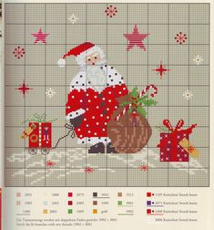 Santa, Sack and Parcels Santa Cross Stitch, Cross Stitch Charts, Cross Stitch Patterns, Knitting Patterns, Cross Stitching, Cross Stitch Embroidery, Theme Noel, Christmas Embroidery, Christmas Cross