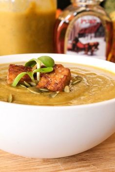 Winter Squash Soup with Maple Tempeh, I actually tried  this, this is REALLY_good!