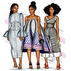 "3,023 Gostos, 41 Comentários - Penie (@peniel_enchill) no Instagram: ""This week's squad. #ForTheLoveOfStripes #FashionIllustration"""