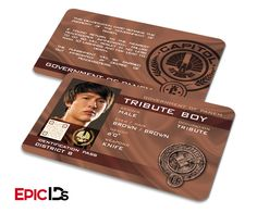 "The Hunger Games Inspired Panem District 8 ""Tribute Boy"" Identification Card"